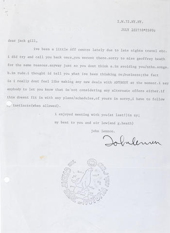 A JOHN LENNON TYPED AND SIGNED LETTER TO JACK GILL, TOGETHER WITH A COPY OF A LETTER FROM JACK GILL TO JOHN LENNON.