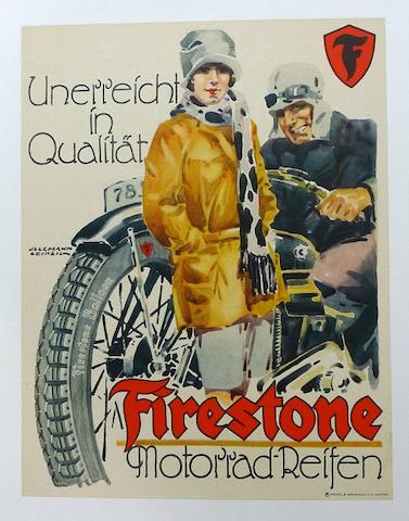 An earley Firestone tires advertising poster, c. 1930s,