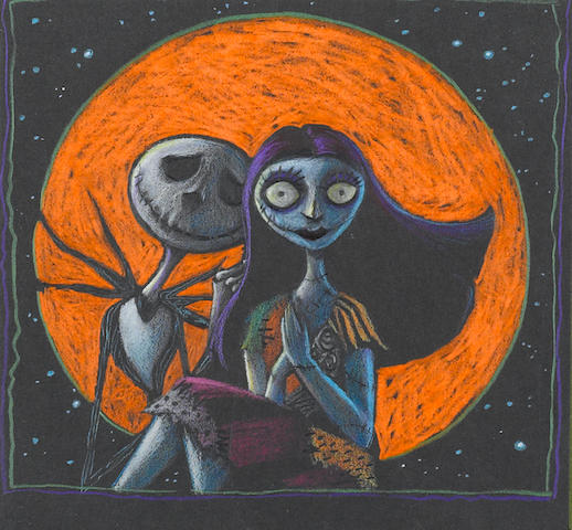A MATTED STORYBOARD OF JACK AND SALLY IN A FULL ORANGE MOON FROM THE NIGHTMARE BEFORE CHRISTMAS. (IMAGE SIZE 6 1/2 X 7 1/2.)