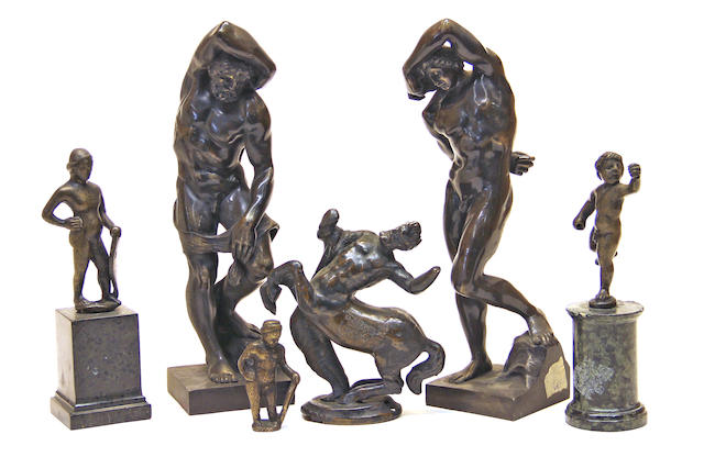 Five patinated bronze male nudes and a Centaur 19th/20th century