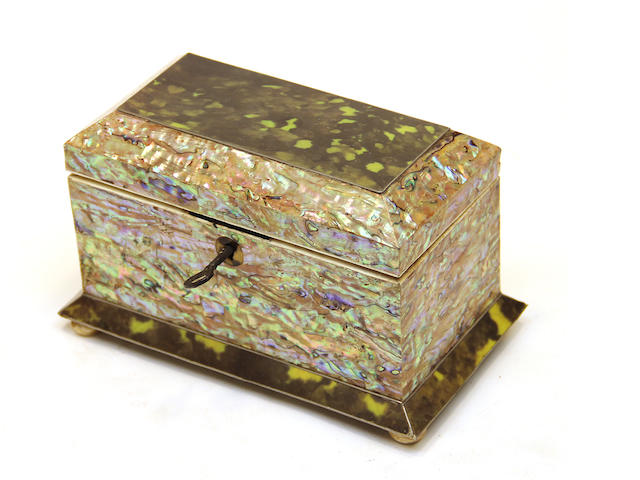 A William IV style green tortoiseshell and abalone tea caddy  20th century