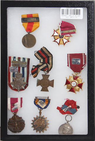 A group of eight medals
