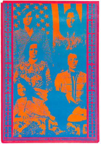 Group of four 1960s posters. Big Brother. Neon Rose #3. Matrix, SF. 1/17- 22/67. OP-1. Style B.  Flamin Groovies. Loose Gravel. Dirty Movies. Silver/red poster. Friends and Relations Hall. Great Highway. Quicksilver Messenger Service New Year's Eve Costume Ball.  12/31/71.  Spirit of '67 Poster by PYLXS Studios.