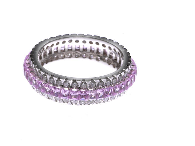 A diamond and pink sapphire eternity band D=1.00ct PS=4.85ct