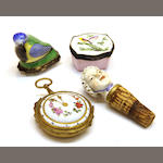 A Meissen porcelain figural cane handle, two porcelain trinket boxes and an enamel box late 19th/early 20th century