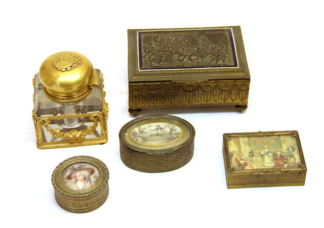 A French gilt bronze music box, inkwell and three small boxes first quarter 20th century