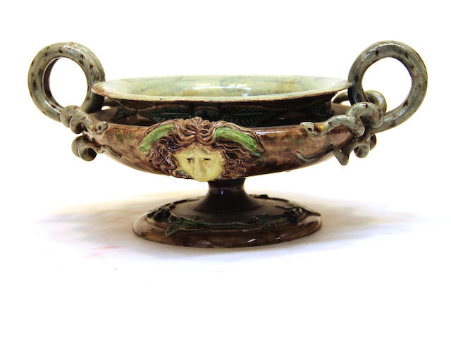 A French palissy style faience trompe l'oeil two-handled urn <BR />probably Achille Barbizet (French, c. 1825 - c. 1890)<BR />circa 1880
