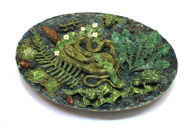 A Geoffrey Luff palissy style faience trompe l'oeil oval plaque late 20th century