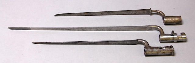 A lot of three socket bayonets