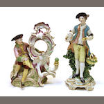 A Derby porcelain shepherd and a Vienna porcelain figural watch holder fourth quarter 18th century