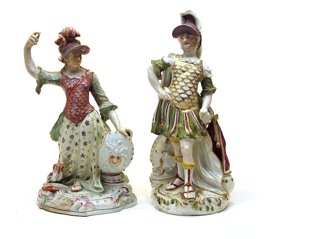 Two Derby porcelain figures: Athena and Mars fourth quarter 18th century