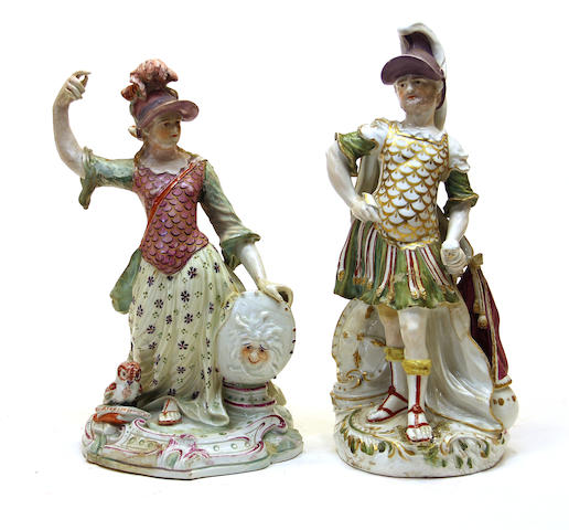 Two large Derby porcelain figures of Mars and Minerva circa 1770