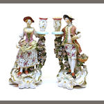 A pair of Derby porcelain figural candlesticks  fourth quarter 18th century