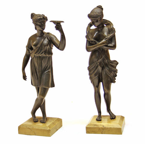 A pair of Italian Grand Tour bronze figures of Vestal Virgins 19th century