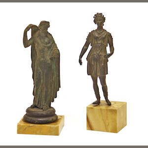 Two Italian Grand Tour patinated  bronze figures  after the antique. 19th century