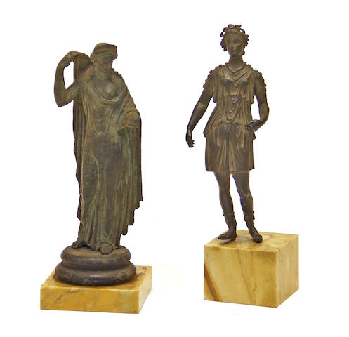 Two Italian Grand Tour patinated  bronze figures after the antique 19th century