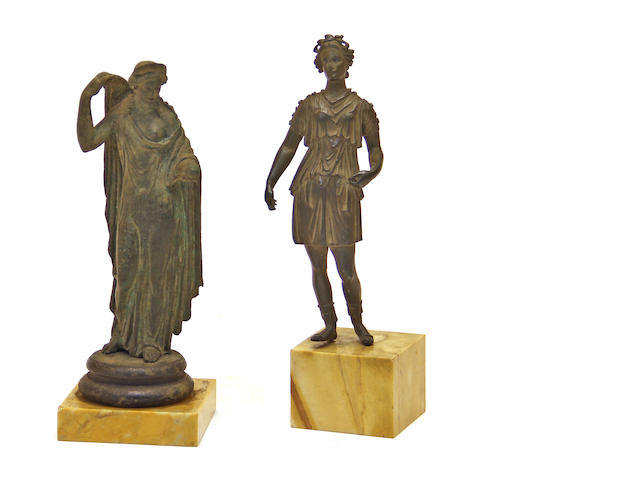 Two Italian Grand Tour patinated  bronze figures  after the antique<BR />19th century