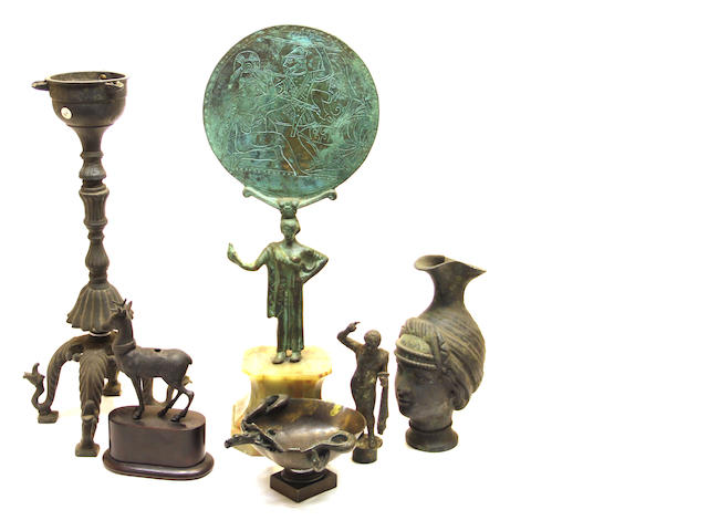An assembled group of six Grand Tour patinated bronze table articles late 19th/early 20th century