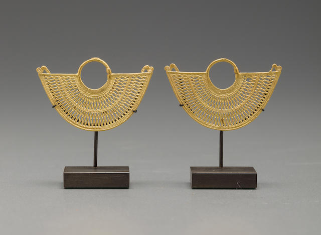 Pair of Sinú Ear Ornaments, ca. A.D. 1000 - 1500