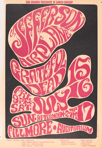 3. Group of six posters.  BG-14. Quicksilver Messenger Service. 7/1-3/66. OP-1.  BG-16. Mindbenders. 7/8-9/66. OP-1.  BG-17. Jefferson Airplane. 7/15-17/66. OP-1.  BG-19. The American Theater. 7/24/66. OP-1.  BG-21. Love. 8/5-6/66. OP-1A.  BG-24. Young Rascals. 8/19-20/66. OP-1.