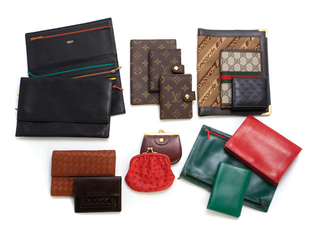An assembled group of wallets and coin purses