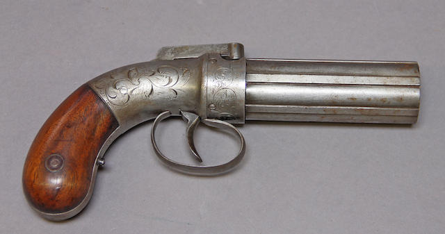 An Allen & Thurber percussion pepperbox revolver