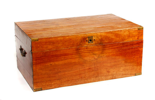 A Victorian brass bound teak campaign chest