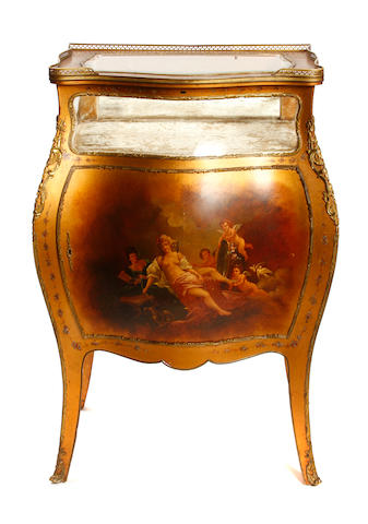 A French gilt bronze mounted Vernis Martin vitrine side cupboard