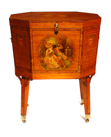 A George III style inlaid and paint decorated satinwood cellarette
