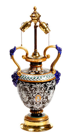 A Renaissance style glazed earthenware vase, now as a table lamp