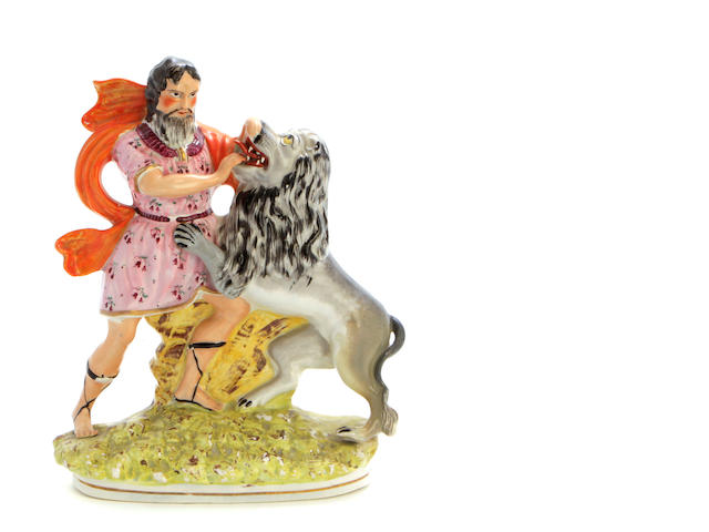 A Staffordshire figure of Hercules and the Nemean lion