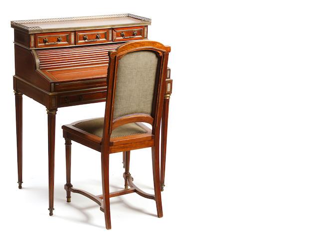 A Louis XVI style gilt bronze mounted mahogany bureau de dame