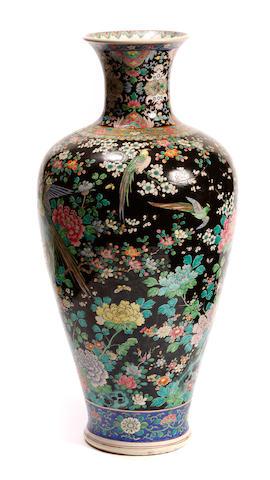 A large famille noir vase