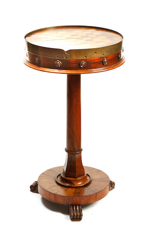 A William IV rosewood games table