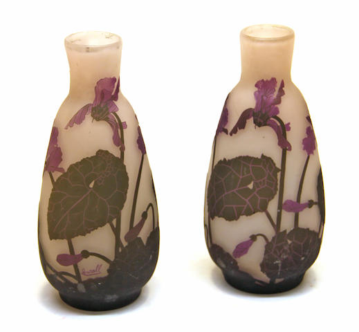 Two French cameo cut frosted art glass vases