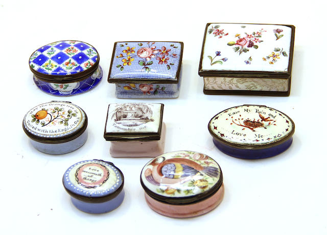 A group of eight various English enamel snuff and patch boxes second half 18th century