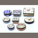 A group of eight various English enamel snuff and patch boxes 18th century