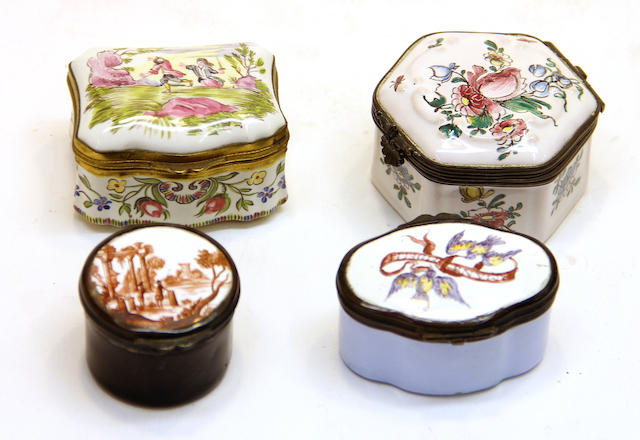 An assembled grouping of four enamel or ceramic metal mounted snuff boxes 19th/20th century; in the 18th century taste