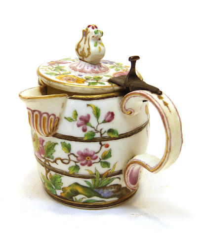 A Continental porcelain barrel-form pitcher