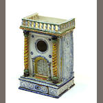 A Nevers faience architectural form watch holder late 18th century