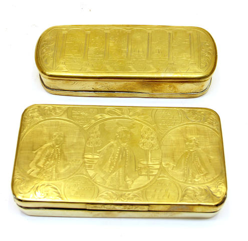 Two Dutch engraved brass tobacco boxes 18th century
