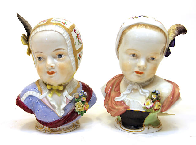 A pair of Dresden porcelain busts of children