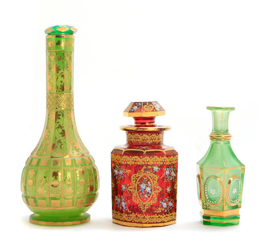 A group of three Bohemian glass articles