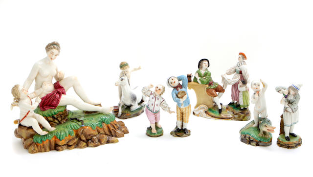 A group of seven Höchst style porcelain figural groups