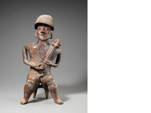 Nayarit Seated Warrior, San Sebastian Red Style,<BR />Protoclassic, ca. 100 B.C. - A.D. 250