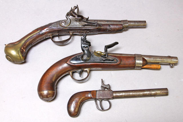 A lot of three antique pistols