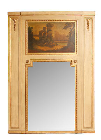 A Louis XVI style paint decorated trumeau mirror