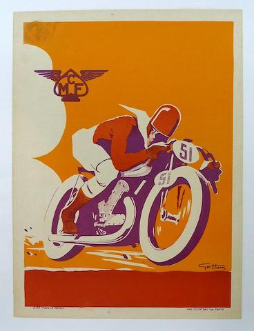 A Motorcycle Club de France with artwork by Geo Ham, 1935,