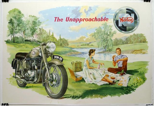 "A Norton "" The Unapproachable "" advertising poster, c. 1950's,"