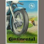 A Continental motorcycle tires advertising poster, c. 1950's,